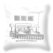 An Old Couple Sits In Bed Below Three Windows Throw Pillow