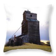 An Old Grain Elevator Off Highway Two In Montana Throw Pillow