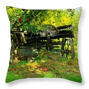 An Old Harvest Wagon Throw Pillow