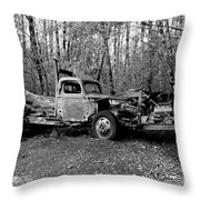 An Old Logging Boom Truck In Black And White Throw Pillow