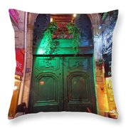An Old Ornate Wooden Door In Paris France Throw Pillow