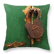 An Old Rusty Lock Throw Pillow