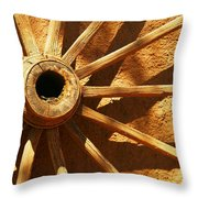 An Old Wagon Wheel In Carillos New Mexico Throw Pillow