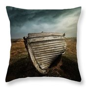 An Old Wreck On The Field. Dramatic Sky In The Background Throw Pillow