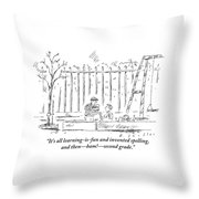 An Older Child Speaks To Younger Child Throw Pillow