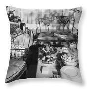 An Outdoor Dining Set Up Throw Pillow
