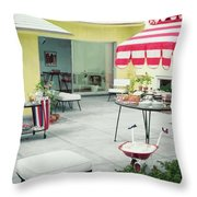 An Outside Area Set Up For A Party Throw Pillow