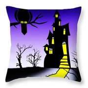 An Owl Some Cats And A Spooky House Throw Pillow