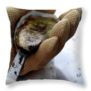 An Oytser Being Shucked Throw Pillow