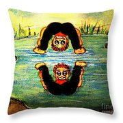 An Upside Down World Throw Pillow