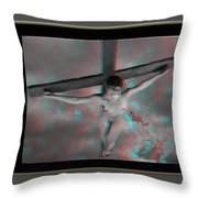 Anaglyph Black Female Jesus Throw Pillow