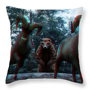 Anaglyph Wild Animals Throw Pillow