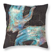 Anahata - Heart 'blue Hand' Chakra Mudra Throw Pillow