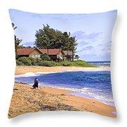 Anahola Beach Kauai Throw Pillow