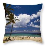 Anakena Beach On Easter Island Throw Pillow