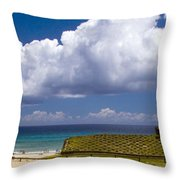 Anakena Beach With Ahu Nau Nau Moai Statues On Easter Island Throw Pillow