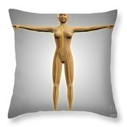 Anatomy Of Female Body With Nervous Throw Pillow
