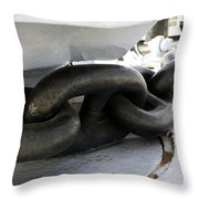 Anchor Chain 02 Queen Mary Ocean Liner Long Beach Ca Throw Pillow