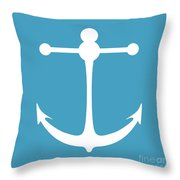 Anchor In White And Turquoise Blue Throw Pillow
