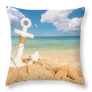 Anchor On The Beach Throw Pillow