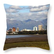 Anchorage Alaska Skyline Throw Pillow