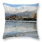 Anchorage Cityscape Throw Pillow