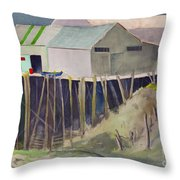 Anchorage Dock 1980s Throw Pillow
