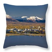 Anchorage Skyline And The Chugach Throw Pillow