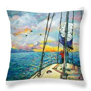 Anchored At Sunset Throw Pillow