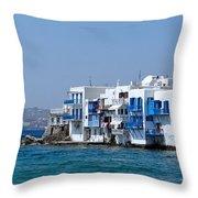 Anchored In Mykonos Throw Pillow