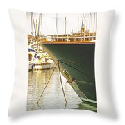 Anchored Yacht In Antibes Harbor Throw Pillow