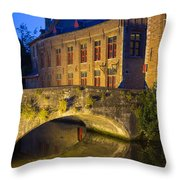 Ancient Bridge In Bruges  Throw Pillow