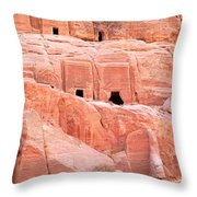 Ancient Buildings In Petra Throw Pillow