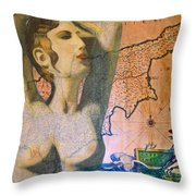 Ancient Cyprus Map And Aphrodite Throw Pillow