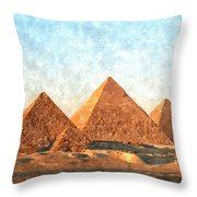 Ancient Egypt The Pyramids At Giza Throw Pillow by Gianfranco Weiss
