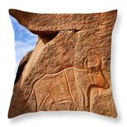Ancient Engraving Of A Buffalo At The Wadi Matkhandouch In Libya Throw Pillow