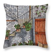 Ancient Grey Stone Residence Throw Pillow