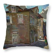Ancient House In Perast Throw Pillow