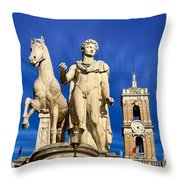 Ancient Marble Sculpture Of Castor At The Cordonata Stairs  Throw Pillow