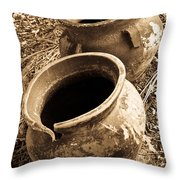 Ancient Pottery In Sepia Throw Pillow