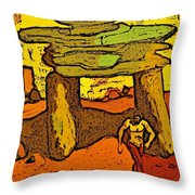 Ancient Sand Painting Throw Pillow