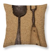 Ancient Spoon And Fork  Throw Pillow