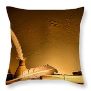 Ancient Texting Throw Pillow by Olivier Le Queinec