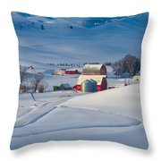 And The Rooster Crowed Throw Pillow by Don Hall