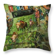 And They Are Off Throw Pillow