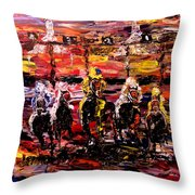And They're Off   Throw Pillow