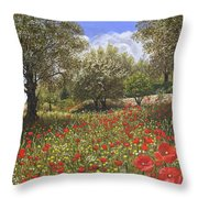 Andalucian Poppies Throw Pillow