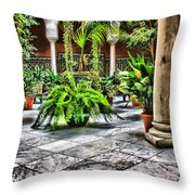 Andalusian Courtyard In Sevilla Spain Throw Pillow