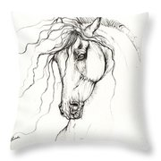 Andalusian Horse Drawing 04 11 2013 Throw Pillow