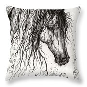 Andalusian Horse Drawing 2 Throw Pillow